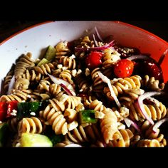 |Greek Pasta| 1 box of your favorite pasta (I used whole wheat rotini) 1 English Cucumber (diced) 1 Pint Grape Tomatoes (halfed) 1/2 Red Onion (diced) 1 200g package of feta cheese (or to taste) 1/2 cup of Greek dressing (or to taste)  Cook pasta until desired texture is reached, rinse under cold water until pasta is cold, let dry slightly, put in salad bowl, add all other ingredients, stir. Best served after chilled in fridge for a bit.