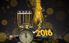 Wallpaper 2016, happy new year, golden, champagne, clock, new year, champagne