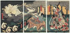 Original Toyokuni III/Kunisada (1786 - 1864).  Cat Spirit Appearing. $430.  Dramatic and eye catching original triptych of a cat spirit appearing to a couple in a room.