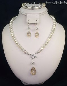 Modern Wedding Jewelry Set with Teardrop by ForeverAfterBridal, $55.00