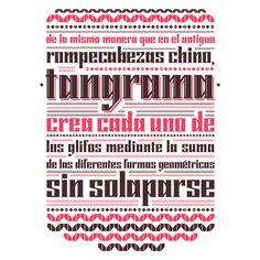 especimen Tangrama - diseño de tipografía. Less, Barcelona