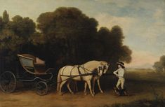 Between 1780 and 1784. Phaeton with a Pair of Cream Ponies and a Stable-lad.      By George Stubbs, 1724–1806, British.    Oil on panel.  Yale Center for British Art, Paul Mellon Collection