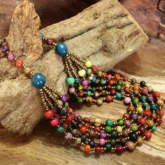 Colorful Statement Necklace - Multistrand Necklace and Earring Set - Multicolor Bib Necklace - Eco Friendly Jewelry Fair Trade Fashion 1091