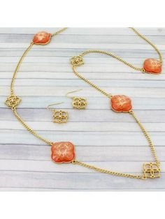 36 Peach Ornamental Flower Goldtone Necklace and Earring Set #shopewam #fashionjewelry