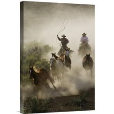 East Urban Home Oregon 'Horses Herded by Cowboy and Cowgirl' Photographic Print on Wrapped Canvas Size:
