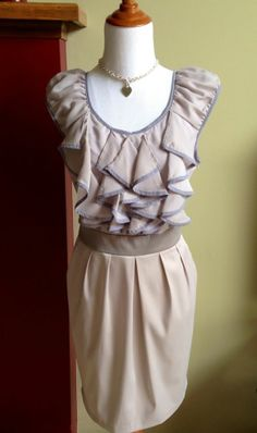 TCEC Ruffle Front Party Dress Pockets Pleated Gray Size L NWT Juniors #TCEC #Cocktail #justlovely