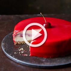 White chocolate and cherry cheesecake with a red mirror glaze - Sainsbury's Magazine
