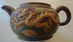 Chinese Red Clay Yixing Zisha Teapot Enameled Phoenix Dragon Design 2 Cups