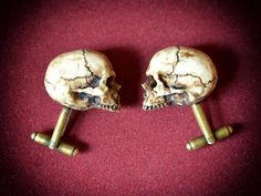 Victorian Skull Cufflinks Scary Hand made by GothChicAccessories