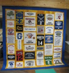 T-Shirt Quilt Tutorial. Doing this for my sons' high school graduations. Great for dorm room!