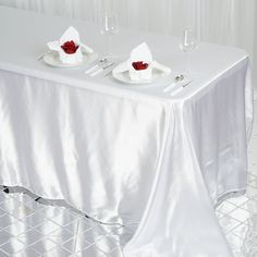 x Rectangular Satin Tablecloth Table Covers for Party Wedding Reception Catering Dining Home Table Linens Chair Covers, Table Covers, Color Ivory, Table Overlays, Chair Sashes, Wedding Linens, Ivory Wedding