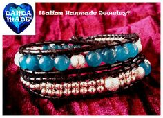 Double wrap bracelet, bluegreen Jade , white matt Agate and silver-plated spacers on black leather 2013 Trend