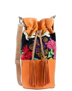 ‏Hippie Chic Hobo Bag Orange Leather