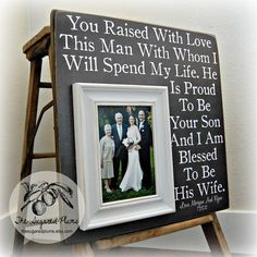 Parents of the Groom Gift, Mother of the Groom, Father of the Groom, Parents Thank You Gift, Wedding, Personalized Picture Frame 16x16 by thesugaredplums on Etsy (null)