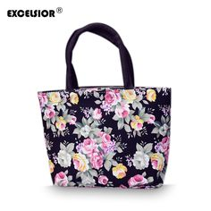 4.39$  Buy here - http://alirhg.shopchina.info/go.php?t=32682012375 - 2017 New Lovely Flower Printed Female Tote Bags Small Canvas Handbag Women's Casual Handbag Portable Beach Shopping Bag G0750  #shopstyle