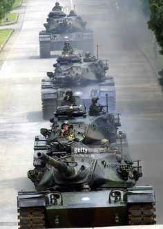 A column of tanks rolls out from bunkers in a show of force held at an army base in Houli, central Taiwan, 18 August, China has ratcheted up its rhetoric against Taiwan since. Military Photos, Military History, Tank War, Patton Tank, M48, Army Base, Tank Armor, Italian Army, World Of Tanks
