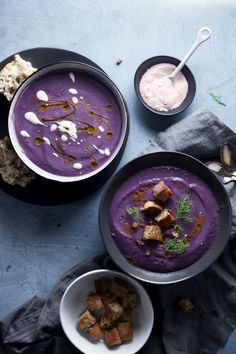 Roasted Purple Potato & Cauliflower Soup | Vegan and Paleo Friendly