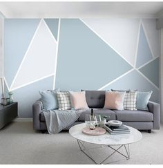 Geometric Wallpaper For Walls, Geometric Wall Paint, Wall Wallpaper, Triangle Wall, Cleaning Walls, New Room, Paint Wall Design, Painting Designs On Walls, Paint Designs