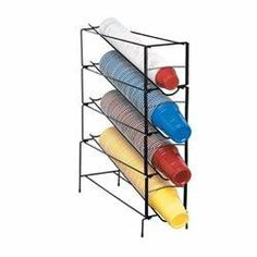 "Wire Cup Organizer (4 Section) by Dispense Rite. $113.50. Dispenses plastic or foam cups.. Multi-layer tower.. Black wire construction.. Dispenses rim diameters between 2 5/8"" to 4 5/8"".. Perfect for restaurants or cafes.. WR-CT Series cup towers dispense 6-ounce to 44-ounce paper, plastic or foam cups with rim diameters between 2 5/8-inch to 4 5/8-inch. Dispensing towers feature the simple and fast EZ-Twist adjustment mechanism. Reinforced welded construction prov..."