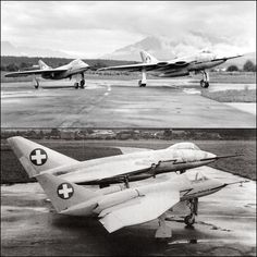 In the the Swiss worked on the development of two domestically designed and produced jet combat aircraft for the Swiss Air Force, the EFW Aiguillon (Sting) fighter and the FFA Swiss Air, Jet Plane, Submarines, Aircraft Carrier, Battleship, Military Aircraft, Armed Forces, Ancient History, Air Force