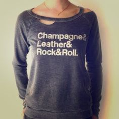 Rock & Roll sweatshirt! PERFECT CONDITION! Speaks for itself! Deconstructed long sleeve with glitter letters! XOXO, Nicole Tops Sweatshirts & Hoodies