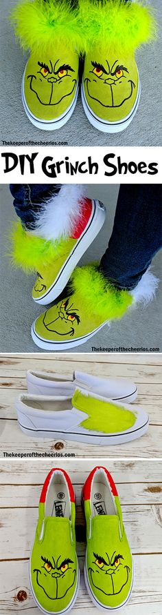 Diy Christmas Sweater Grinch Ideas For 2019 Grinch Party, Grinch Christmas Party, Winter Christmas Gifts, Christmas Shoes, Christmas Crafts For Kids, Xmas Crafts, Christmas Projects, Christmas Art, Ugly Christmas Sweater