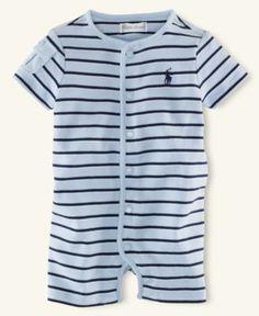 Ralph Lauren Baby Shortall, Baby Boys Interlock Striped Shortall - Kids Newborn Shop - Macy's