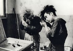 I love pictures of 80s Goths fixing their hair <3