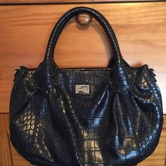 """Charcoal Gray Faux Reptile Bag by Nine & Co. 13"""" wide 8"""" tall. Handles are 5 1/2"""". 1 zippered pocket on the inside. It has a small stain in the bottom of the small zipper. On the other side it has 2 pouches. It snaps closed. The outside, handle and bottom look new. Non smoking home Nine & Co. Bags"""