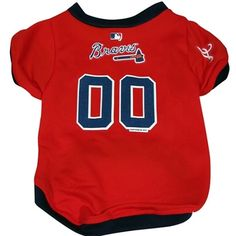 Officially Licensed Atlanta Braves Dog Jersey! This v-neck jersey is made of a micro-mesh polyester and velcro closure with button trim and will come with either the numbers 00 or 01 on the back. Dres