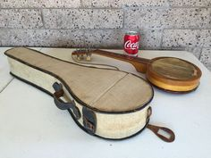 Vintage Probably 1920's Ukulele With Case And Rope Strap