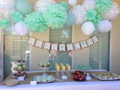 Sogorge Pack of 28 Pcs Mint Green Blue White Tissue Paper Pom Poms with White and Mint Balloon for Baby Shower Party Decorations Green Party Decorations, Pom Pom Decorations, White Wedding Decorations, Bridal Shower Decorations, Party Themes, Party Ideas, Diy Shower, Shower Party, Baby Shower Parties