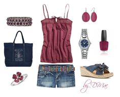 Maroon and Navy Summer by dmac30 on Polyvore featuring polyvore fashion style American Eagle Outfitters LifeStride Mixit Bulova Blue Nile Apt. 9 Ralph Lauren OPI clothing