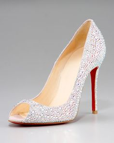 Crystal-Encrusted Suede Pump by Christian Louboutin at Neiman Marcus.