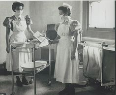 Laying up a dressing trolley.If I remember correctly the large forceps are Cheatles ? Nursing Pictures, Medical Pictures, Old Hospital, Hospital Photos, History Of Nursing, Medical History, Old Photos, Vintage Photos, Drapery Styles