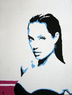 """Angelina Jolie"" Pop Art Painting by Venus. 11 x 14 Acrylic on Canvas. https://www.etsy.com/shop/PaintingsbyVenus?ref=l2-shopheader-name #art"