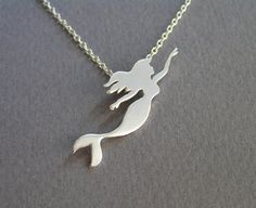 Mermaid Jewelry - Mermaid Necklace Pendant - Swimmer - Nautical Jewelry - Ocean Jewelry - Sterling Silver - Hand Cut on Etsy, £46.30