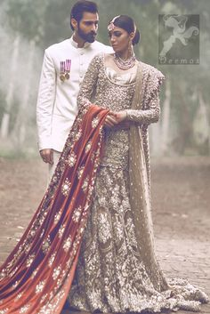Light-Brown-Fully-Embroidered-Bridal-Shirt-Lehnga-and-Dupatta.jpg (401×600)