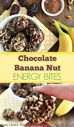 Chocolate Banana Nut Energy Bites are the perfect snack for after school, post-workout or an afternoon pick-me-up. Vegan and gluten-free.   Recipe via yourchoicenutrition.com @ReTweetNGro