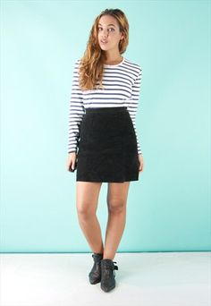 Black High Waisted Real Suede Mini Skirt - SS2609151