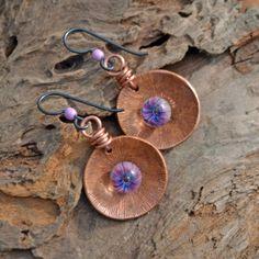 Tidepool, Copper and Lampwork Glass Headpin Earrings.