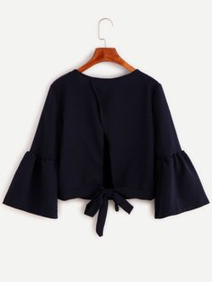 Navy Bell Sleeve Bow Tie Back Blouse