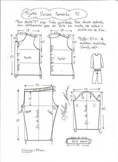 Esquema de modelagem de pijama unisex tamanho 42.