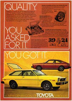 1976 Advertisement for the Toyota Corolla