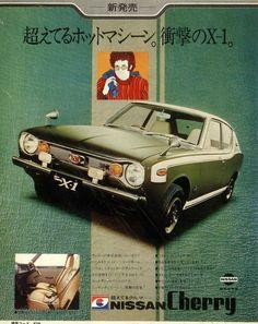 Nissan Cherry - adv Retro Cars, Vintage Cars, Antique Cars, Classic Japanese Cars, Classic Cars, Japanese Domestic Market, Offroader, Car Brochure, Nissan Infiniti