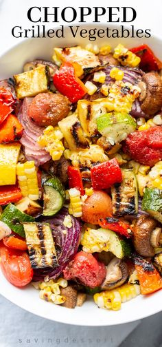 Chopped Grilled Vegetables are one of our favorite ways to enjoy summer produce! These grilled vegetables are healthy and delicious and a great base for many different meals. #grilledvegetables #summervegetables #grilledcorn #vegetables #grilledvegetablesalad #vegetablesalad #grilled #grilling Grilled Vegetable Recipes, Grilled Veggies, Summer Vegetable Recipes, Grilled Chicken, Chicken Recipes, Grilled Peppers, Summer Grilling Recipes, Vegetable Salad, Vegetable Side Dishes