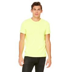 Bella + Canvas Unisex Neon Yellow Poly-Cotton Short-Sleeve T-Shirt