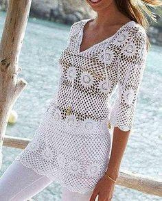 New Woman's Crochet Patterns Part 18 - Beautiful Crochet Patterns and Knitting Patterns Beau Crochet, Moda Crochet, Pull Crochet, Crochet Tunic, Knitted Shawls, Crochet Clothes, Knit Crochet, Free Crochet, Step By Step Crochet