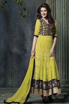Sonali Bendre Lime Net Ankle Length Festive Wear Suit @ 50% discount