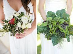4- Nikki Meyer Photography/Kraak/Elle Fleur via The Pretty Blog; 5- Locally Grown Weddings via Style Me Pretty Fruit & Vegetable Bouquets #wedding #bouquet #fruit #vegetable